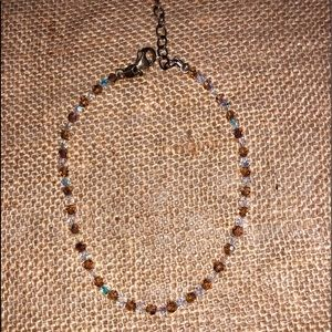 🧺 Brown and Clear iridescent Bracelet